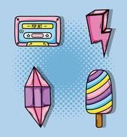 Set di cartoni animati pop art