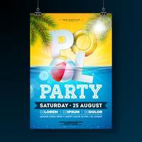 Modello di progettazione del manifesto festa in piscina estiva con foglie di palma, acqua, beach ball e galleggiante su priorità bassa blu oceano sott'acqua