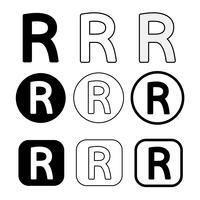 Segno di simbolo dell'icona di marchio registrato