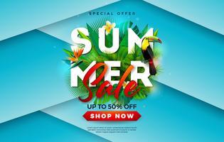 Progettazione di vendita di estate con il fiore, l'uccello del tucano e le foglie di palma tropicali su fondo blu. Illustrazione vettoriale di vacanza con offerta speciale tipografia lettera per coupon