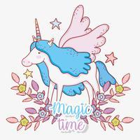 unicorno carino con corno e ali con fiori e foglie