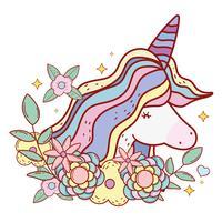 unicorno carino con corno e acconciatura con fiori e foglie