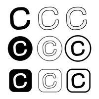 Segno di simbolo dell'icona del copyright