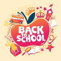 Torna a scuola illustrazione, zaino con attrezzature scolastiche, autobus e scuola edificio