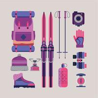 simpatiche attrezzature per escursioni e campeggio vettore