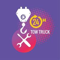 Servizio di rimorchio per auto, 24 ore su 24, camion, icona isolata o logo su sfondo giallo, servizio auto, riparazione auto vettore
