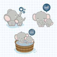 Bella mamma e baby elefante con amore. vettore