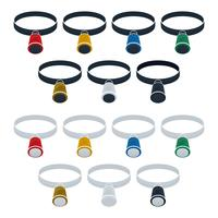 Set di icone piatte lente di ingrandimento