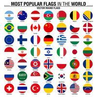 Collezione di bandiere rotonde, le bandiere più popolari del mondo vettore