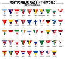 Collezione di bandiere triangolari, le bandiere più popolari del mondo vettore
