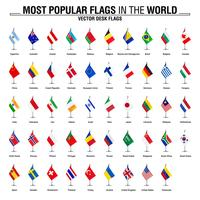 Collezione di bandiere da tavolo, le bandiere più popolari del mondo vettore