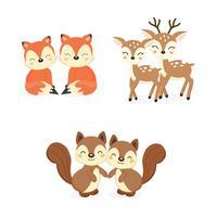 Set di simpatici animali del bosco coppia. Cartone animato di volpi, cervi, scoiattoli. vettore