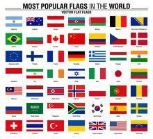 Collezione di bandiere, bandiere del mondo più popolari vettore