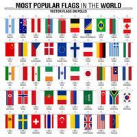 Bandiere sui pali, le bandiere del mondo più popolari vettore
