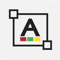 Icona della lettera di modifica del carattere di colore del testo vettore