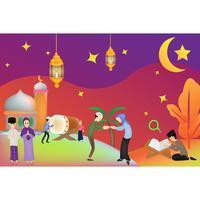 eid illustrazione di carattere mubarak vettore
