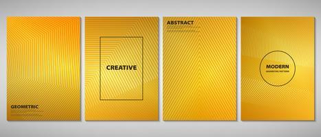 Opuscolo astratto dorato sfumato di linee geometriche di design moderno forma. È possibile utilizzare per annunci, opuscoli, set, opere d'arte.