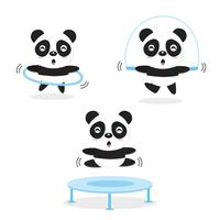 Panda divertenti che fanno esercizio fisico. vettore