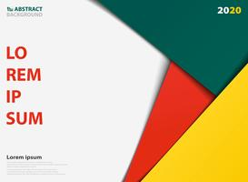 Modello colorato astratto per la presentazione di sfondo geometrico sovrapposti. Decorazione in colore verde giallo arancio, per pubblicità, poster, materiale illustrativo di presentazione. vettore