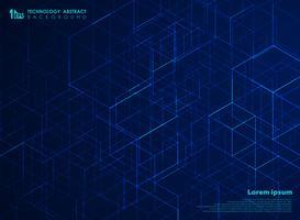 Fondo astratto del modello del cubo di energia del quadrato di tecnologia. È possibile utilizzare per il design futuristico di opere d'arte, pubblicità, poster, stampa, copertina, relazione annuale. vettore