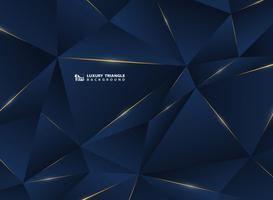 Linea dorata di lusso astratta con sfondo premium modello classico blu. Decorazione in pattern di stile poligono premium per pubblicità, poster, copertina, stampa, grafica.
