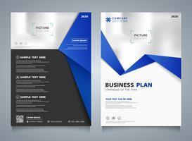 Opuscolo di affari astratto della priorità bassa blu della disposizione del modello. È possibile utilizzare per la presentazione moderna di brochure, annunci pubblicitari, flyer.