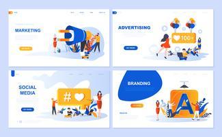 Set di modello di pagina di destinazione per marketing digitale, pubblicità, social media, branding. I concetti piani dell'illustrazione moderna di vettore hanno decorato il carattere della gente per il sito Web e lo sviluppo del sito Web mobile.