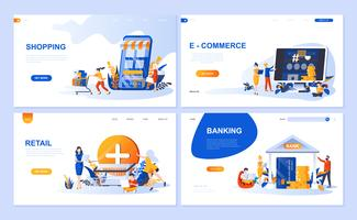 Set di modello di pagina di destinazione per lo Shopping online, E-commerce, Retail, Internet Banking. I concetti piani dell'illustrazione moderna di vettore hanno decorato il carattere della gente per il sito Web e lo sviluppo del sito Web mobile.