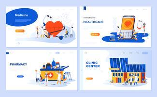 Set di template per landing page per Medicina, Sanità, Farmacia, Centro Clinico. I concetti piani dell'illustrazione moderna di vettore hanno decorato il carattere della gente per il sito Web e lo sviluppo del sito Web mobile.