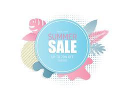 Fondo dell'insegna di vendita di estate nello stile del taglio della carta. Illustrazione vettoriale. manifesto. volantino. brochure. banner. modello. pubblicità promozionale.