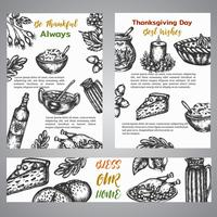 Raccolta di broshure di giorno del ringraziamento dell'illustrazione disegnata a mano con gli elementi di autunno, alimento Retro stile dell'annata