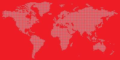 Bianco su rosso punteggiato mappa del mondo vettoriale