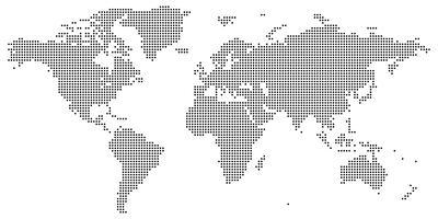 Nero su bianco punteggiato mappa del mondo vettoriale