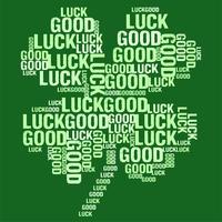 L'illustrazione di vettore del trifoglio di quattro foglie ha modellato la nuvola di parola di buona fortuna