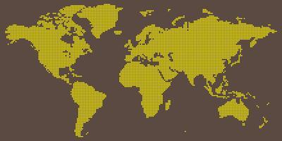 Il vettore della mappa di mondo con giallo su marrone-chiaro ha colorato intorno punteggiato
