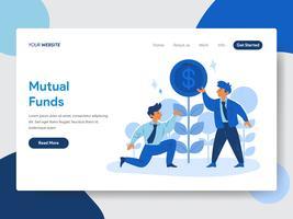 Modello della pagina di atterraggio del concetto dell'illustrazione dei fondi comuni e dell'uomo d'affari. Concetto di design piatto moderno di progettazione di pagine Web per sito Web e sito Web mobile. Illustrazione di vettore