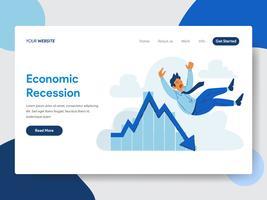 Modello della pagina di atterraggio dell'uomo d'affari con il concetto dell'illustrazione di recessione economica. Concetto di design piatto moderno di progettazione di pagine Web per sito Web e sito Web mobile. Illustrazione di vettore