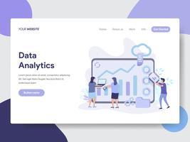 Modello di pagina di destinazione del concetto di illustrazione di dati Analytics. Concetto di design piatto moderno di progettazione di pagine Web per sito Web e sito Web mobile. Illustrazione di vettore