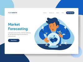 Modello della pagina di atterraggio della previsione del mercato con Crystal Ball Illustration Concept. Concetto di design piatto moderno di progettazione di pagine Web per sito Web e sito Web mobile. Illustrazione di vettore