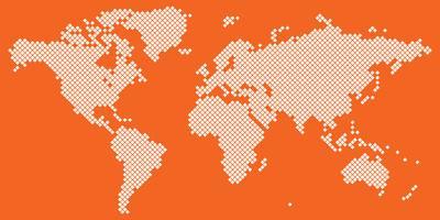 Grande vettore di mappa del mondo di Tetragon bianco sull'arancio