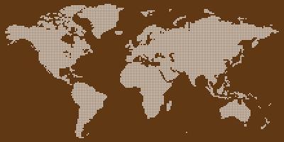 Vettore di mappa del mondo con bianco su marrone colorato rotondo punteggiato