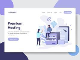 Modello di pagina di destinazione del concetto di illustrazione Hosting Premium. Concetto di design piatto moderno di progettazione di pagine Web per sito Web e sito Web mobile. Illustrazione di vettore