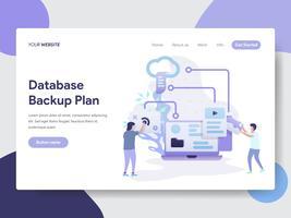 Modello di pagina di destinazione del concetto di illustrazione del piano di backup del database. Concetto di design piatto moderno di progettazione di pagine Web per sito Web e sito Web mobile. Illustrazione di vettore