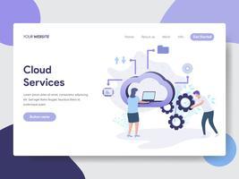 Modello della pagina di atterraggio del concetto dell'illustrazione di servizi della nuvola. Concetto di design piatto moderno di progettazione di pagine Web per sito Web e sito Web mobile. Illustrazione di vettore