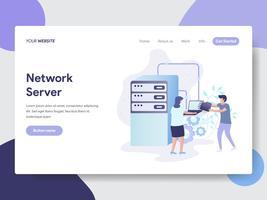 Modello di pagina di destinazione del concetto di illustrazione del server di rete. Concetto di design piatto moderno di progettazione di pagine Web per sito Web e sito Web mobile. Illustrazione di vettore