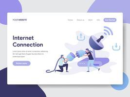 Modello della pagina di atterraggio del concetto dell'illustrazione del collegamento a Internet. Concetto di design piatto moderno di progettazione di pagine Web per sito Web e sito Web mobile. Illustrazione di vettore
