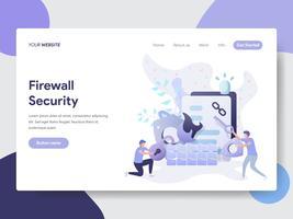 Modello di pagina di destinazione del concetto di illustrazione di sicurezza firewall. Concetto di design piatto moderno di progettazione di pagine Web per sito Web e sito Web mobile. Illustrazione di vettore
