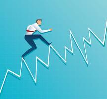 uomo d'affari funziona sul grafico, l'impiegato che corre fino alla cima della freccia, successo, raggiungimento, illustrazione di vettore di simbolo di affari di motivazione
