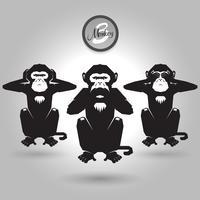 tre scimmie astratte vettore