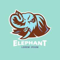 logo della testa di elefante vettore